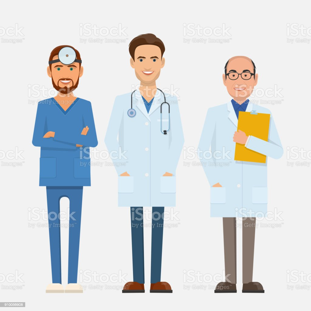 Three doctors of different ages in medical uniforms vector art illustration