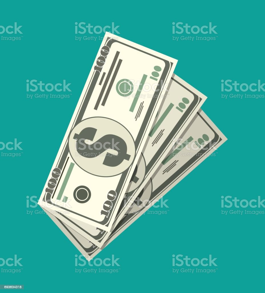 Three dollar banknotes. vector art illustration
