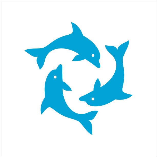 three dolphins form a circle - dolphin stock illustrations