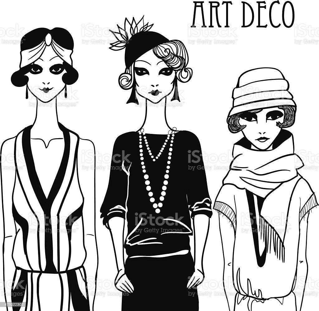 Three doodle women in art deco style. vector art illustration