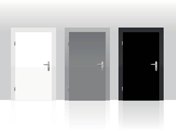 Drei Türen geschlossen, schwarz, weiß und grau – Vektorgrafik