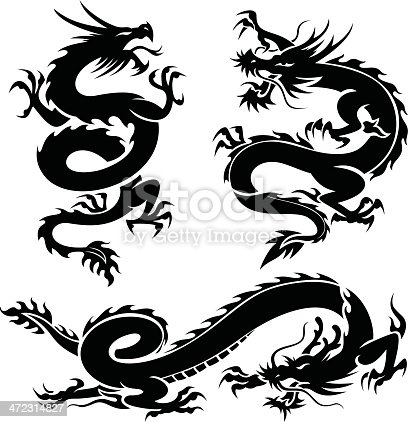 Three Dragons In Black On White Background Stock Vector ...
