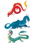 Vector illustration of a three dragons set