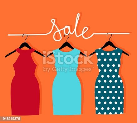 three dresses on a hanger and an inscription sale. Vector illustration with sale of clothes for woman