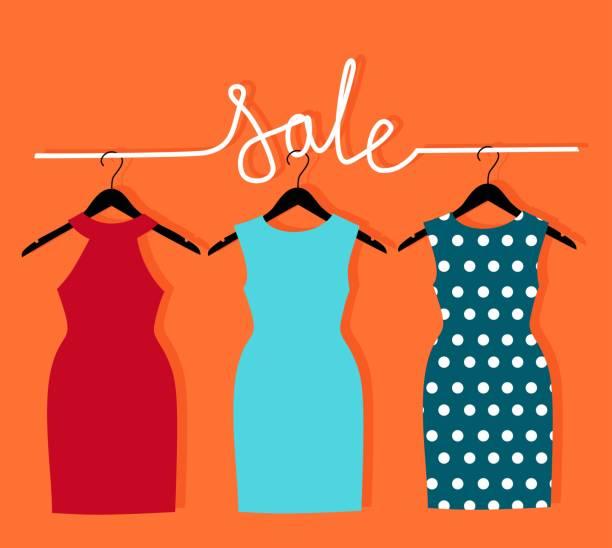 옷걸이에 비문 판매 3 드레스. - 드레스 stock illustrations