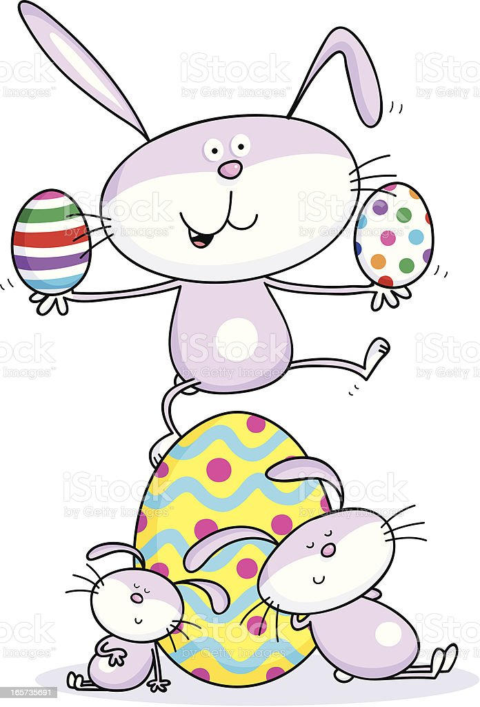 Three Easter Bunnies royalty-free stock vector art