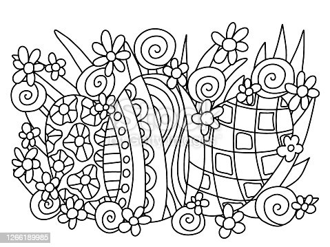istock Three Easter coloring eggs wirh flowers in grass coloring page vector 1266189985
