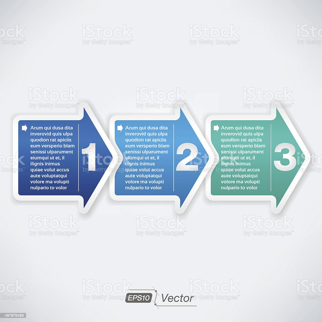 Three easy steps vector art illustration
