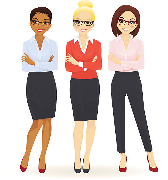 Three elegant business women Three elegant business women in different poses businesswear stock illustrations