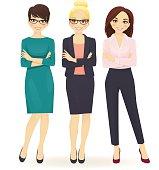 Three elegant business women in different poses