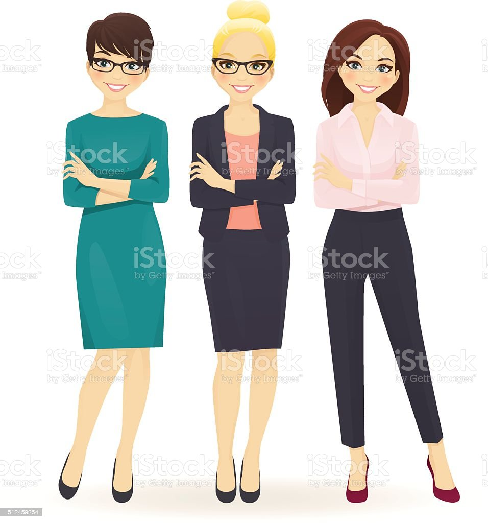 Three elegant business women vector art illustration