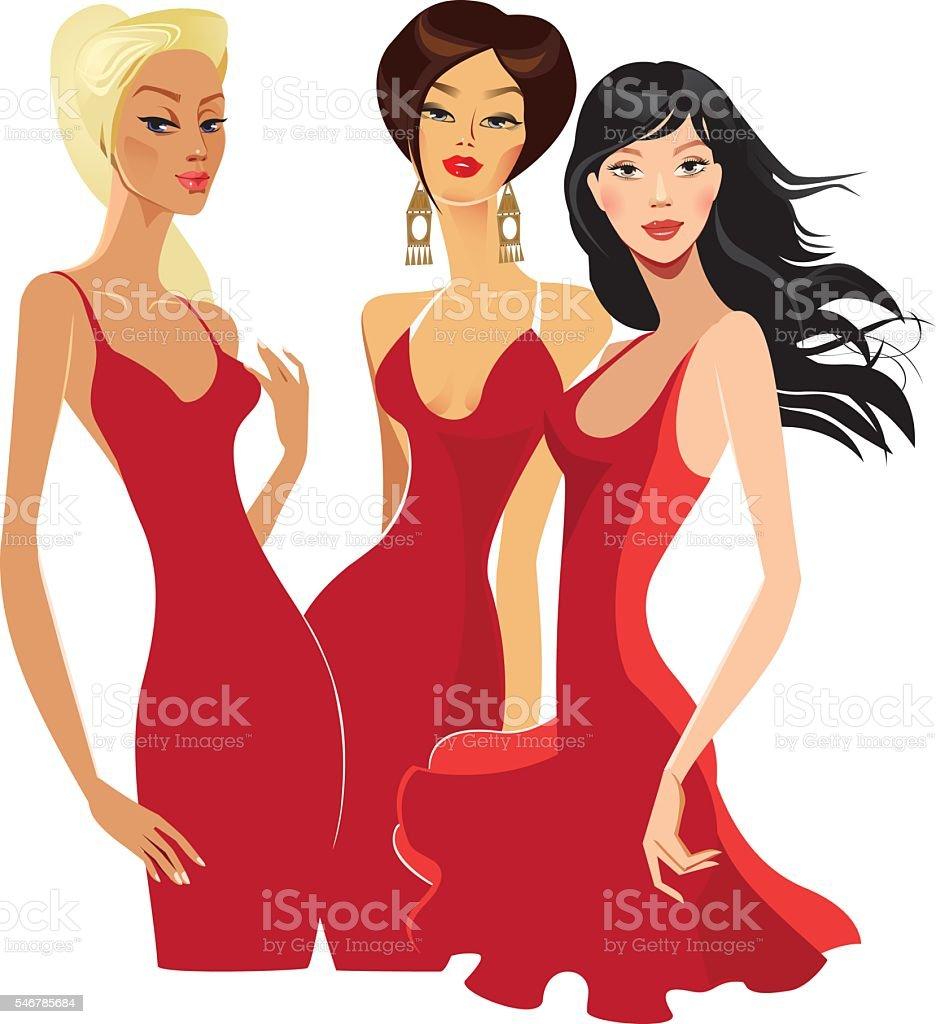 three elegant women in red dress vector art illustration