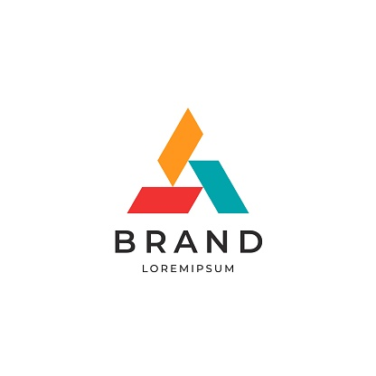 Three elements triangle symbol. Abstract business  logotype.