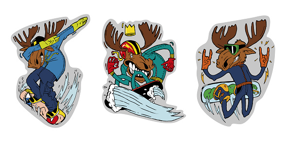 Three elk lovers of winter sports, skiing and snowboarding. Color illustrations, stickers, can be used in advertising and sports products.