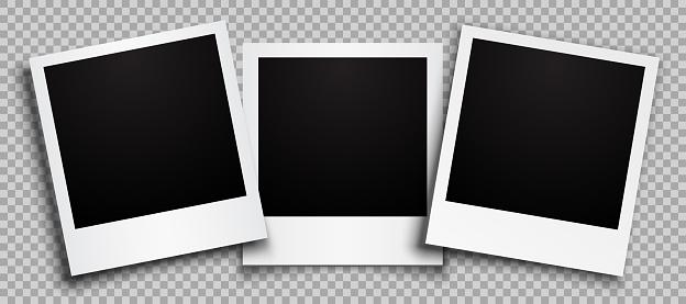 Three empty black photo frame with shadows - stock vector