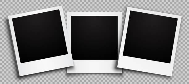 Three empty black photo frame with shadows - stock vector Three empty black photo frame with shadows - stock vector polaroid frame stock illustrations
