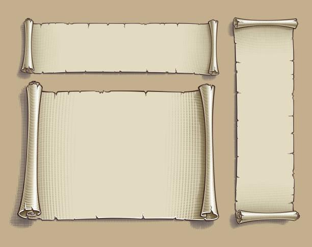 3 つの刻まれた漫画スクロール - ビンテージの地図点のイラスト素材/クリップアート素材/マンガ素材/アイコン素材
