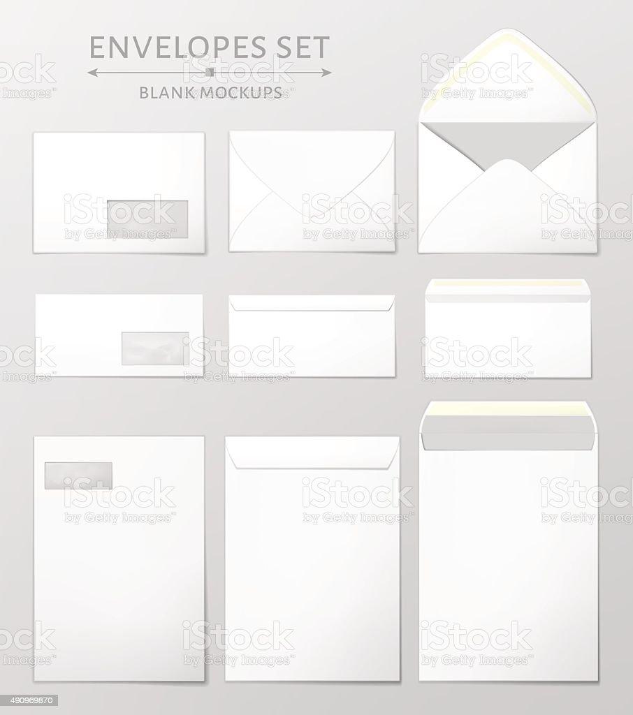 Three envelopes set vector art illustration