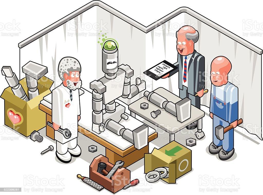 Three experienced engineers repairing a robot (illustration) vector art illustration