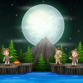 Three explorer children with campfire in the night scene