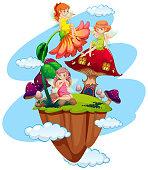 Three fairies and mushroom house