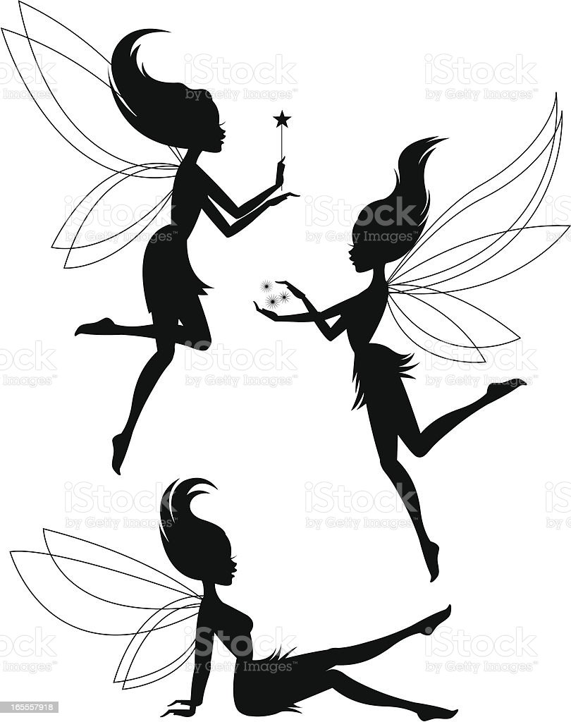 Three Fairy Silhouettes vector art illustration