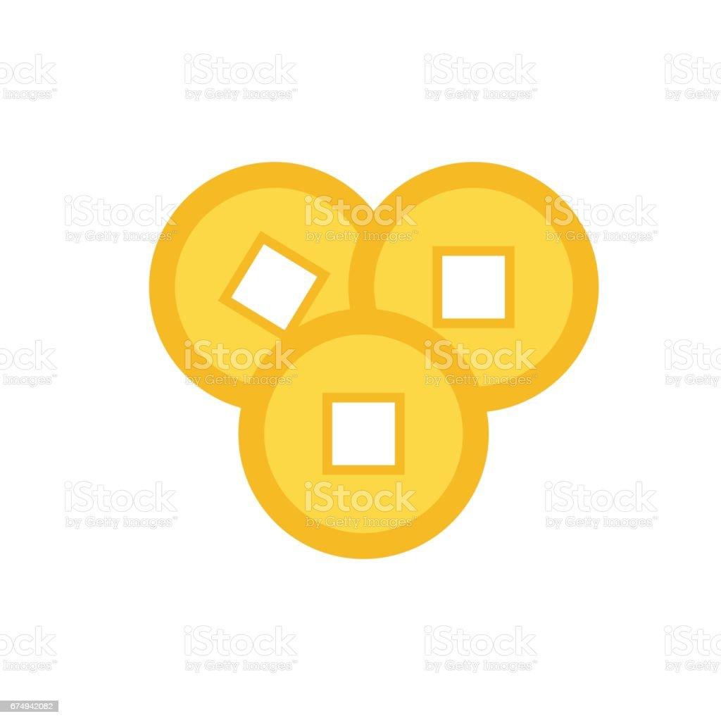 Drei Feng Shui Chinesische Münze Satz China Gold Geld Quadratische