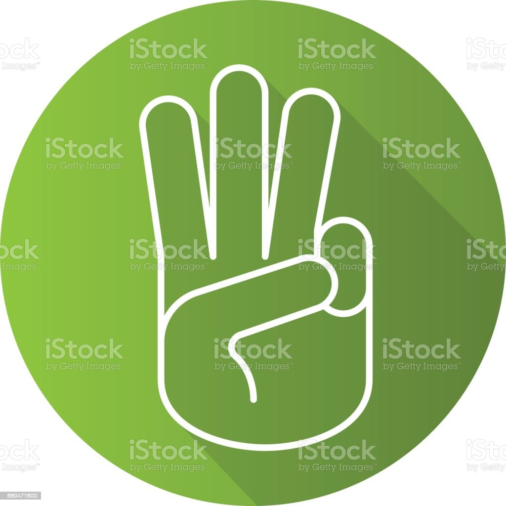 Three fingers up icon vector art illustration