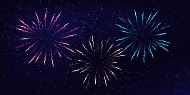 Three firework bursts on night sky background. Vector design element. Three firework bursts on night sky background. Vector design element pyrotechnic effects stock illustrations
