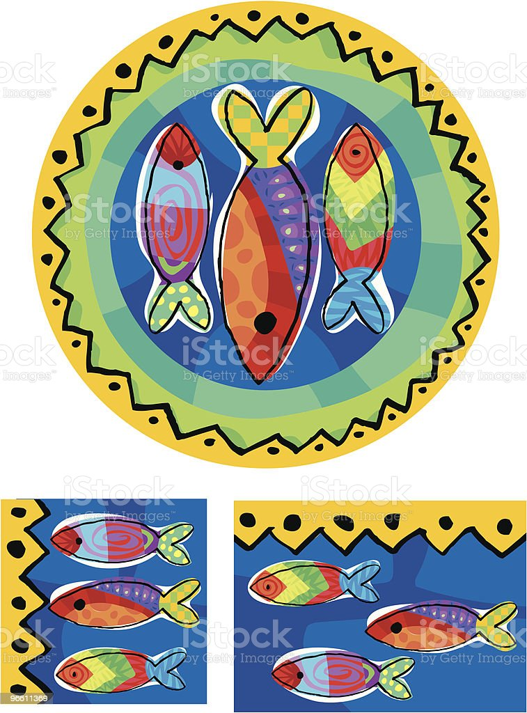 three fish on a decorative plate with patterns - Royalty-free Animal Representation stock vector