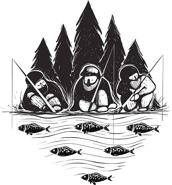 three fisherman sitting on river bank with rods - old man in black stock illustrations, clip art, cartoons, & icons