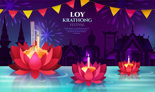 Three floating Lotus flowers for Loy Krathong
