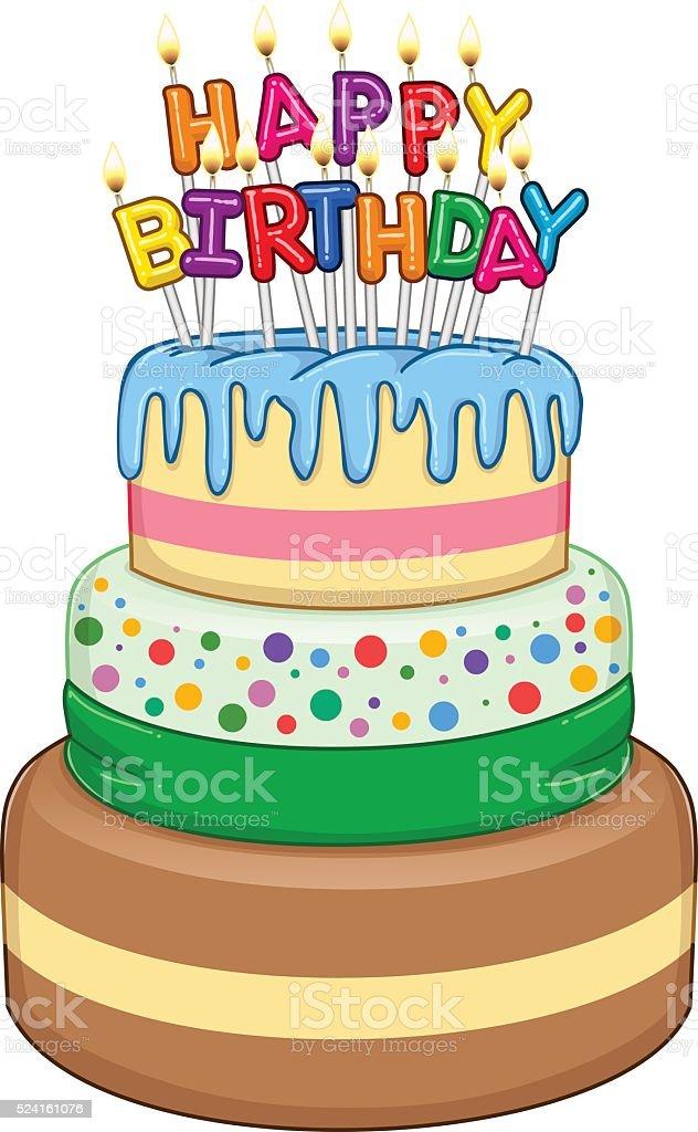 Three Floors Happy Birthday Cake With Candles Stock Vector Art