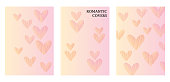 Three flyer templates in delicate pastel shades. Romantic pattern with hearts.  Art can be used for brochure, flyers, packing, cover design, postacrd.