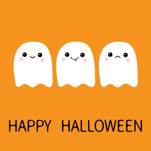 Three flying ghost spirit sad, smiling, showing tongue. Boo. Happy Halloween. Scary white ghosts. Cute cartoon spooky character. Smiling face, cheeks. Orange background Greeting card. Flat design. Three flying ghost spirit sad, smiling, showing tongue. Boo. Happy Halloween. Scary white ghosts. Cute cartoon spooky character. Smiling face, cheeks Orange background Greeting card Flat design Vector spooky halloween town stock illustrations
