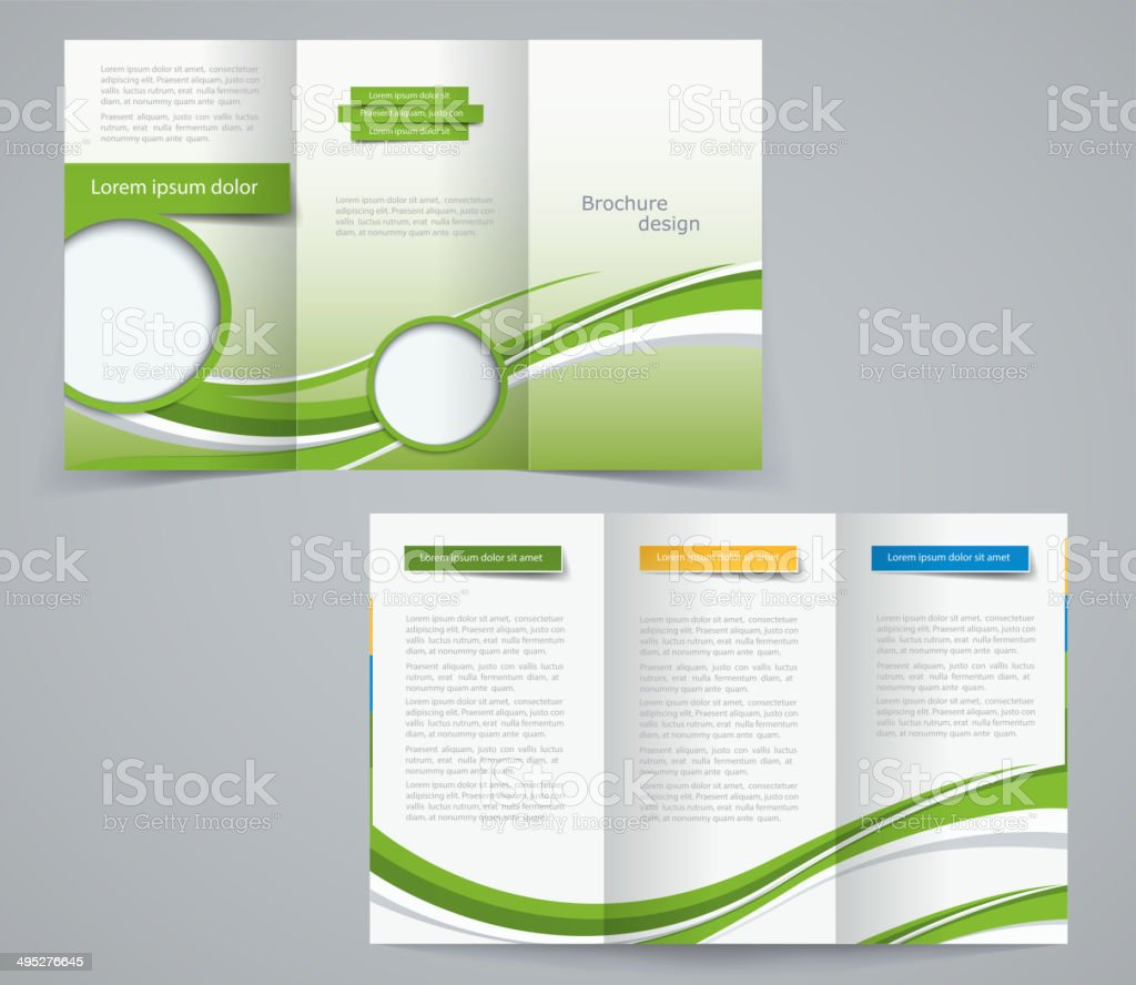 three fold brochure template corporate flyer or cover design stock