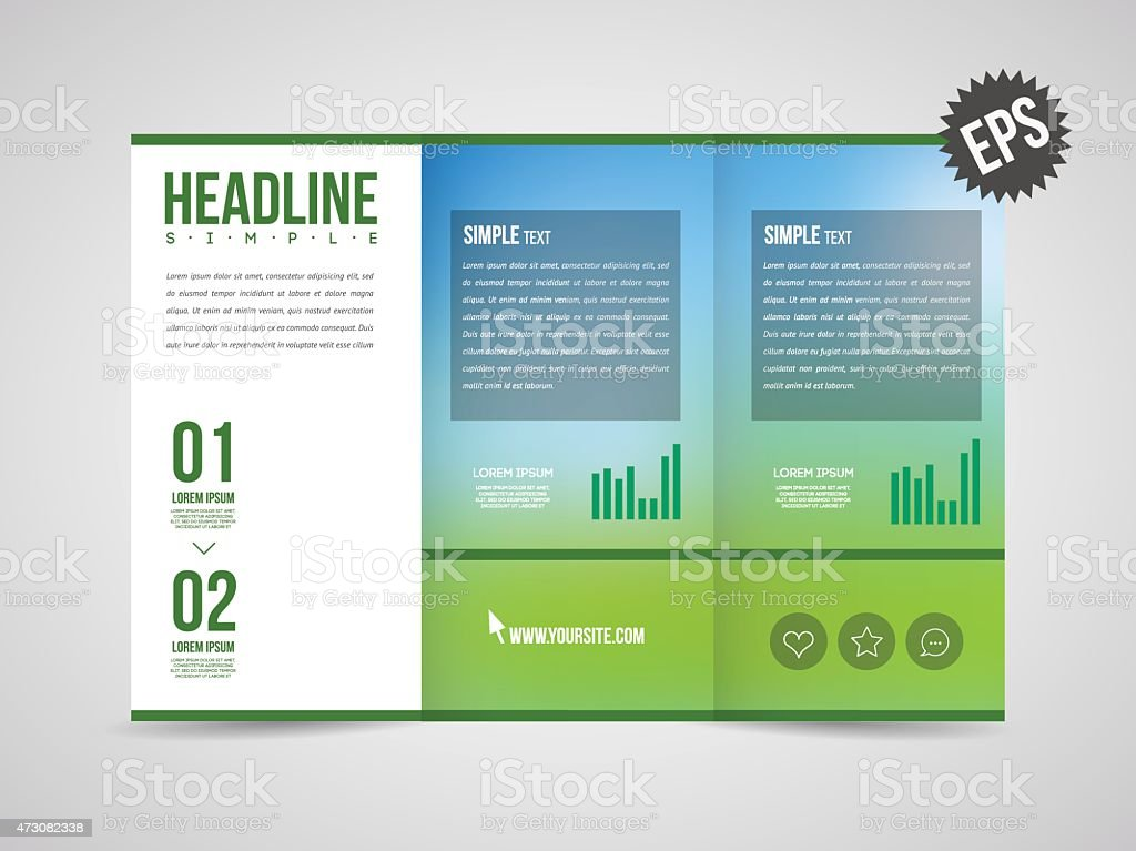 Three Fold Brochure Template Stock Vector Art More Images Of 2015
