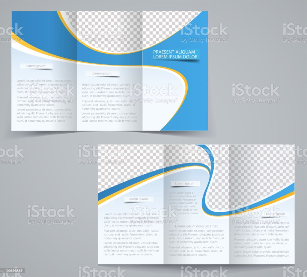 Three fold business brochure template, corporate flyer or cover design vector art illustration