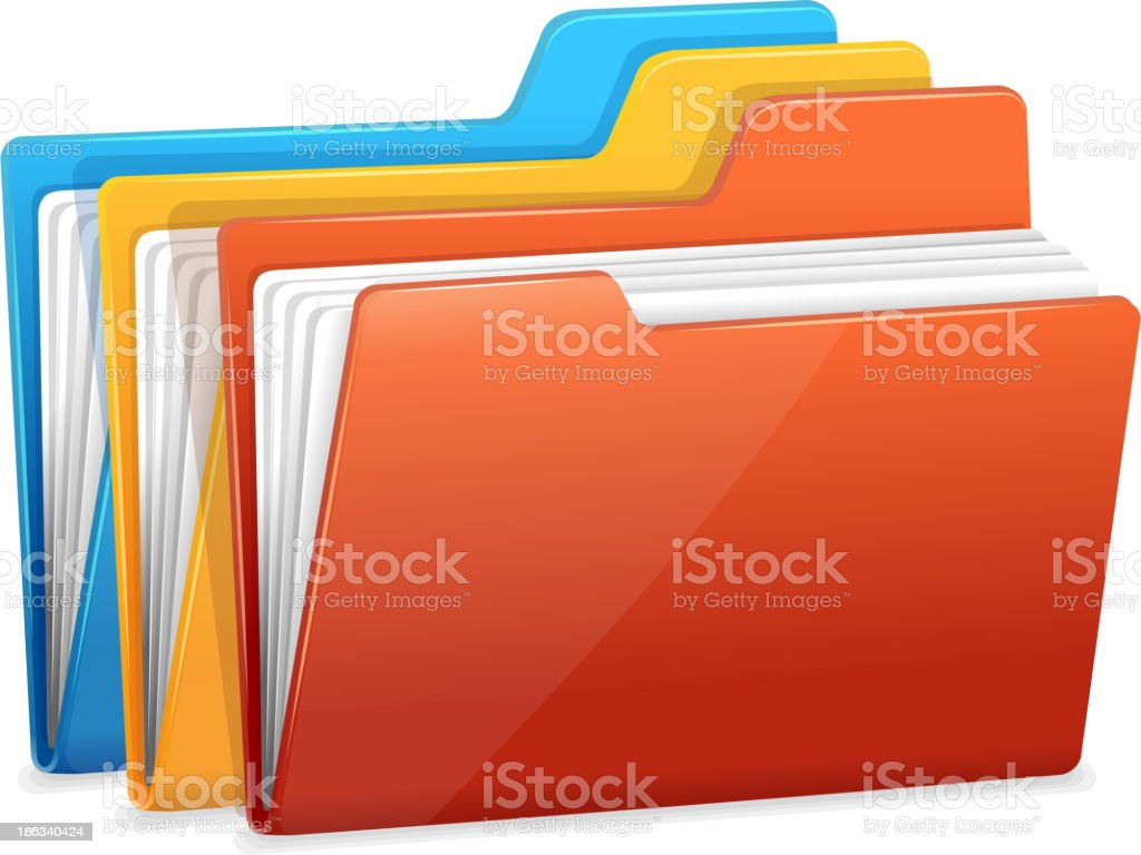 Three folders with paper royalty-free stock vector art
