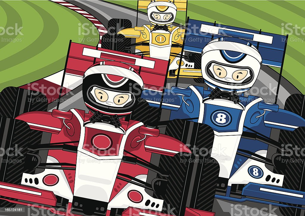 Three Formula 1 Racing Cars on Track royalty-free three formula 1 racing cars on track stock vector art & more images of blue