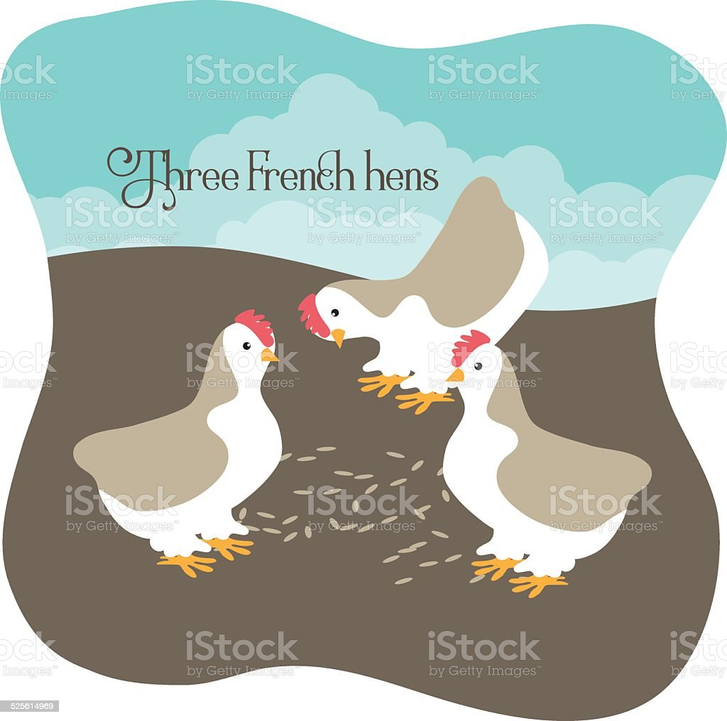 Three French hens eating seed vector art illustration