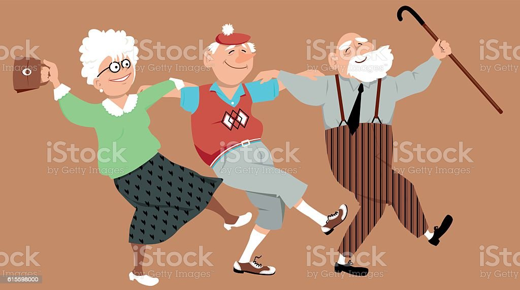 Three friends dancing vector art illustration
