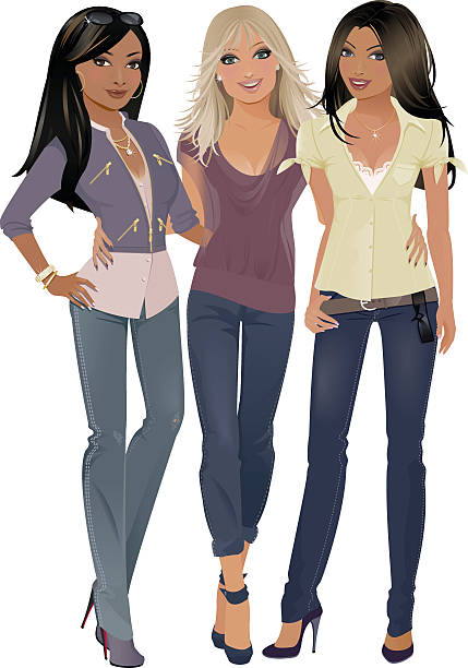 Three Friends vector art illustration
