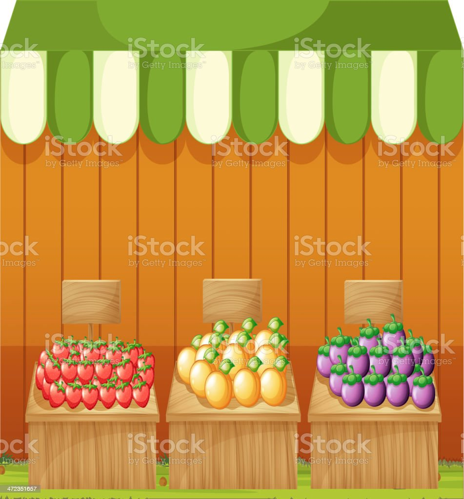 Three fruitstands with empty boards royalty-free stock vector art