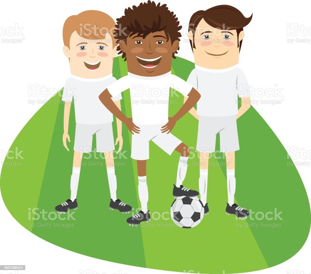 Trois Drole Football Football Joueurs Equipe Se Tenant Debout Sur