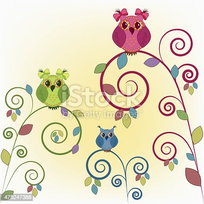 istock Three funny owl on the branches 475247388