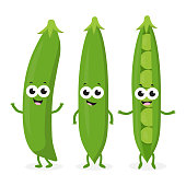 cartoon green peas isolated on white background, set with amusing peas pods with different smiles and grimaces