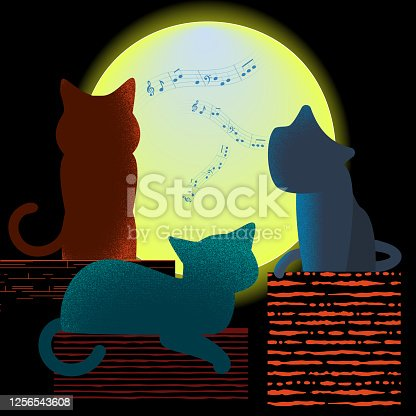 Three funny screaming cats on the roof. Cat song on the background of a large full moon. Vector textured illustration.
