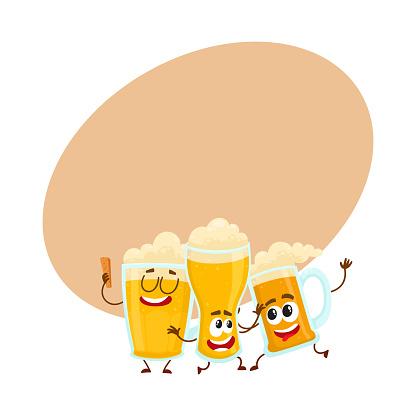 Three funny smiling beer glass and mug characters having fun