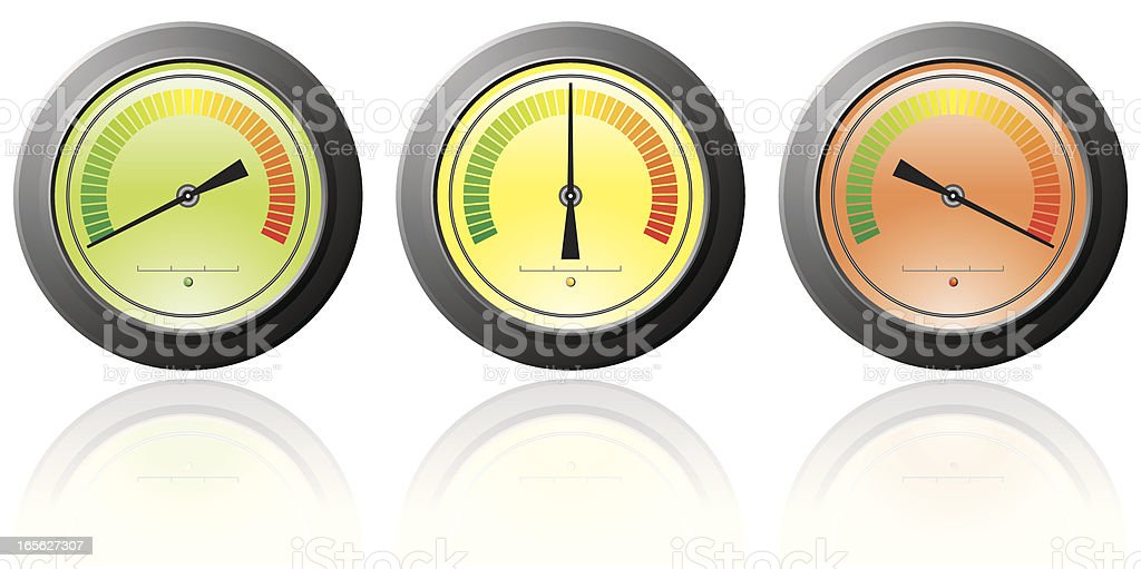 Three gauge icons: low, medium and high vector art illustration